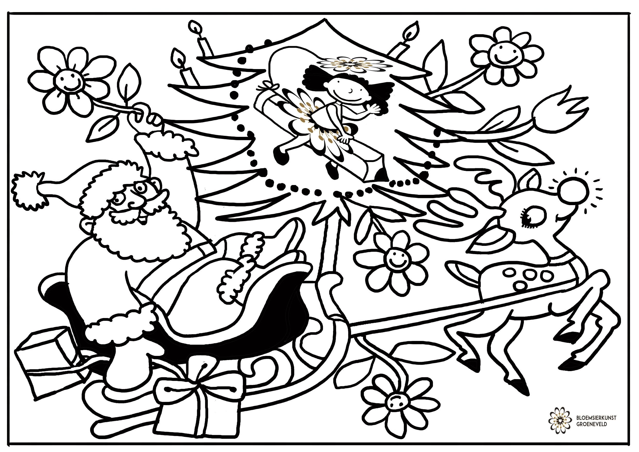 kerst kleurplaat bloemsierkunst groeneveld uw fleurop