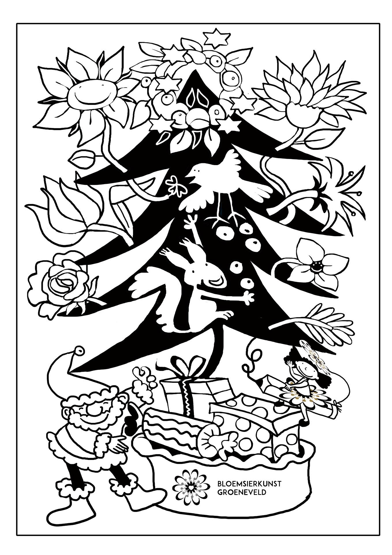 Bloemsierkunst Groeneveld kleurplaat kerst