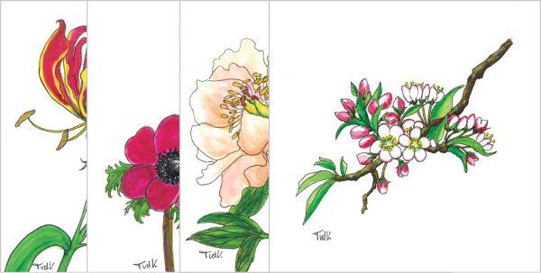 Set van 4 stuks luxe bloemenkaarten 13 x 13 cm