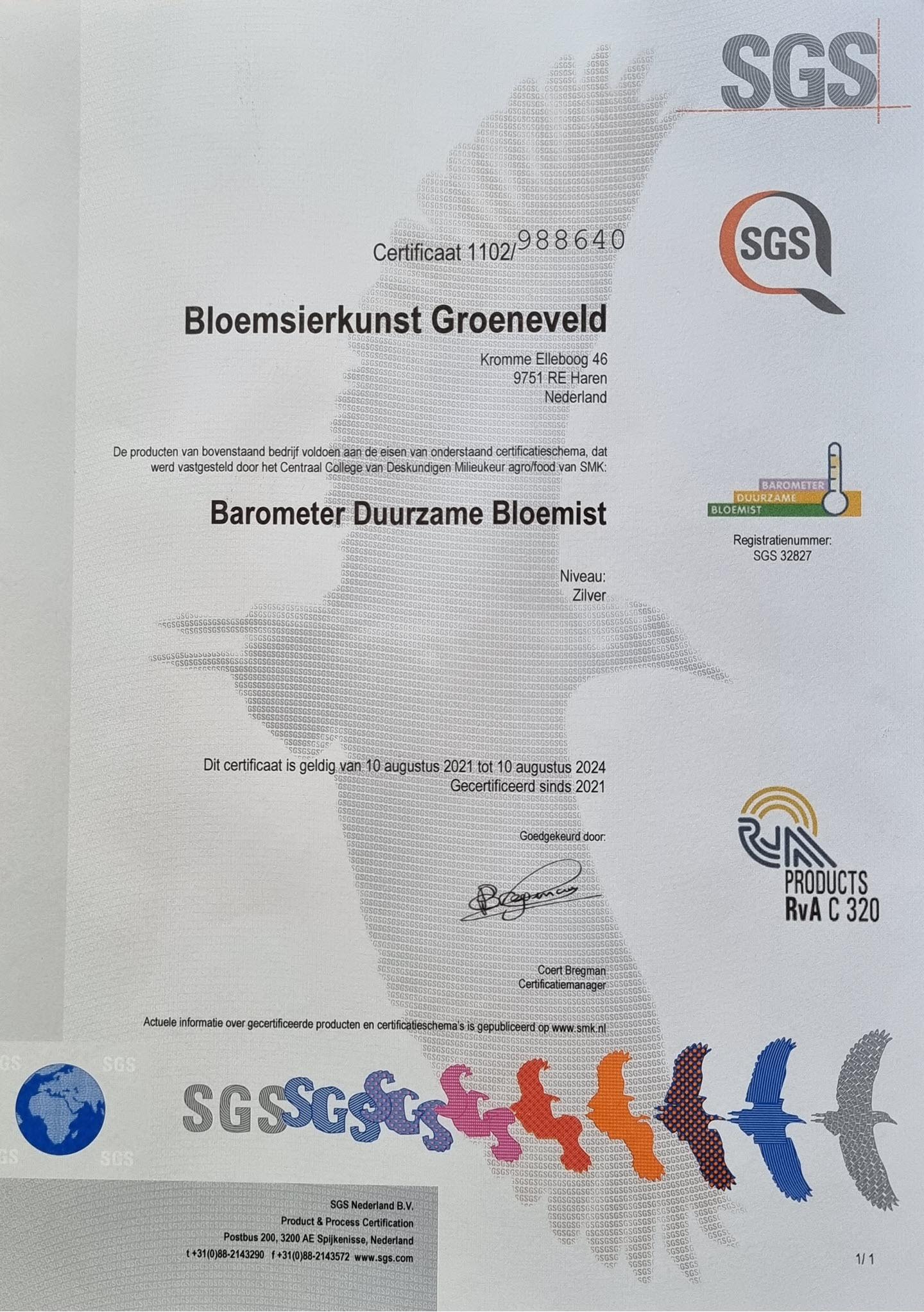 Bloemsierkunst Groeneveld - Certificaat Barometer Duurzame Bloemist
